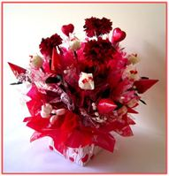 """RED CARNATIONS""  Candy Bouquet"