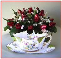"""CHINA TEA CUP & ROSEBUDS"" Candy Bouquet"
