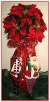 """RED POINSETTIA"" Floral Topiary"